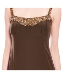 David Meister - Brown Silk Beaded Gown - Lyst