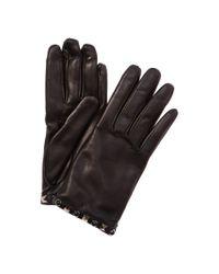 Valentino | Black Rolling Rockstud Noir Leather Gloves | Lyst
