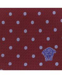 Versace - Red Bordeaux/blue Woven Circle Grid Tie for Men - Lyst