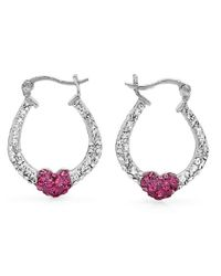 Amanda Rose Collection - Metallic Sterling Silver Crystal Hoop Earrings Made With Pink And White Swarovski Elements - Lyst