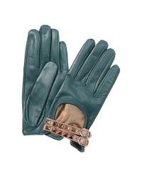 Valentino | Green Rockstud Leather Gloves | Lyst
