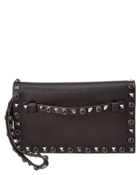 Valentino | Black Rolling Rockstud Noir Small Leather Flap Clutch | Lyst