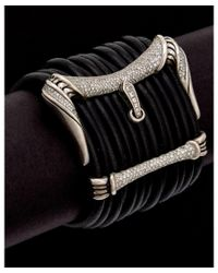 Scott Kay | Metallic Silver 2.00 Ct. Tw. White Sapphire & Leather Bracelet | Lyst