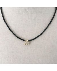 Bungalow 20   Black Beaded Choker Necklace With Cz Elephant   Lyst