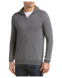 Burberry | Gray Zip Collar Merino Wool Sweater for Men | Lyst