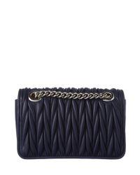 Miu Miu - Blue Small Matelasse Chain Leather Shoulder Bag - Lyst