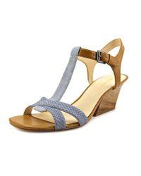 Nine West | Blue Geralda Open Toe Leather Sandals | Lyst