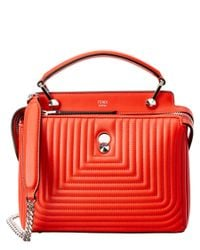 Fendi | Orange Dotcom Click Small Quilted Leather Chain Satchel | Lyst