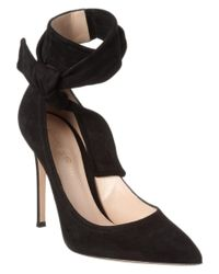 Gianvito Rossi | Black Lane Suede Ankle Wrap Pump | Lyst