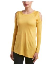 Magaschoni | Yellow Silk Cashmere Crew Neck Open Shoulder Pullover Sweater | Lyst