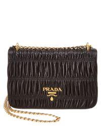 Prada | Black Gaufre Nappa Leather Shoulder Bag | Lyst