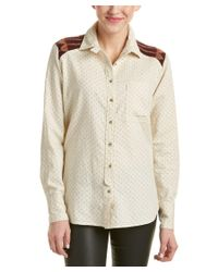 Free People | White Sage Button Wool Blend Shirt | Lyst