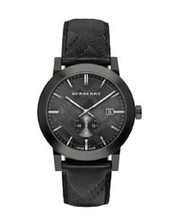 Burberry | Women's Swiss Chronograph The Classic Round Black Check-embossed Leather Strap Watch 42mm Bu9906 | Lyst