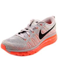 Nike | Gray Flyknit Max Round Toe Canvas Running Shoe | Lyst