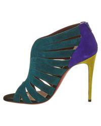 Christian Louboutin - Blue Toot Mignonne 100 Colorblock Suede Sandal - Lyst