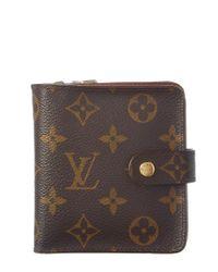 Louis Vuitton   Brown Monogram Canvas Compact Zippy Wallet   Lyst