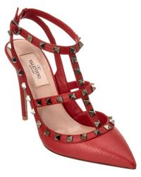 Valentino | Red Rockstud Leather Ankle Strap Pump | Lyst