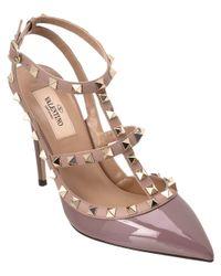 Valentino | Pink Valentine Rockstud Patent Ankle Strap Pump | Lyst