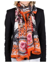 Givenchy - Orange Women's Chain Border Floral Pattern Silk Scarf Large - Lyst
