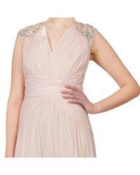Badgley Mischka - Pink Embellished Shirred Silk Chiffon Evening Gown - Lyst