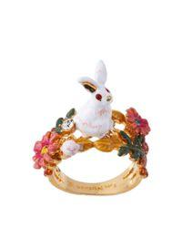 Les Nereides | White Fantasy Garden Rabbit And Flower Ring | Lyst