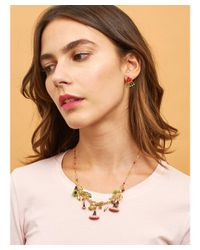 Les Nereides - Pink Chimera Plant Branch Of Purple And Fuchsia Flowers With Leaves And Chestnuts Short Necklace - Lyst