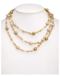 Carolee | Metallic Glass Pearl & Acrylic 60in Necklace | Lyst