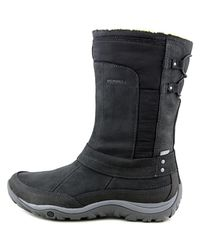 Merrell - Murren Mid Waterproof Women Round Toe Suede Black Snow Boot - Lyst