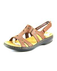 Clarks - Leisa Annual Women Open-toe Leather Brown Slingback Sandal - Lyst