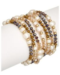 Carolee | Metallic Plated 9mm Pearl Stretch Bracelet | Lyst