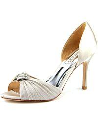 Badgley Mischka | Jennifer Women Open-toe Canvas Gray Heels | Lyst
