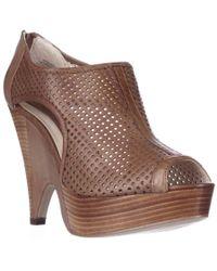 Boutique 9 | Brown Lelaina Platform Peep Toe Perforated Bootie Pumps | Lyst