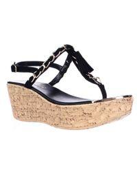 Callisto   Black Tella Chain Strap Platfrom Wedge Sandals   Lyst