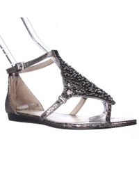 Vince Camuto | Metallic Valeen Ankle Strap Flat Sandals - Steel | Lyst