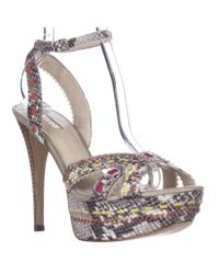 Guess | Multicolor Kaydee Woven Platform Ankle Strap Sandals - Natural Multi | Lyst