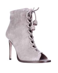 COACH | Gray Lena Lace-up Peep Toe Ankle Booties - Fog | Lyst