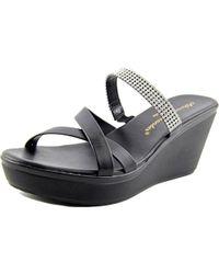 Callisto | Black Modelle Women Open Toe Synthetic Wedge Sandal | Lyst