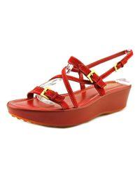 Tod's   Red Miami Sandalo Lisini+fibbiette Women Open Toe Suede Burgundy Platform Heel   Lyst
