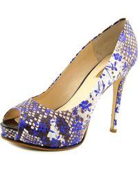Guess | Honora 3 Women Open Toe Leather Blue Platform Heel | Lyst