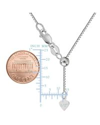 JewelryAffairs - 10k White Gold Adjustable Box Link Chain Necklace, 0.7mm, 22 - Lyst