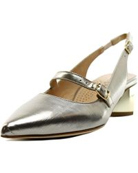 Anyi Lu | Metallic Gigi Women Pointed Toe Leather Slingback Heel | Lyst