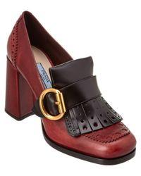Prada - Brown Calf Leather Brogue Loafer Pump - Lyst