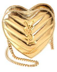 Saint Laurent | Yellow Mini Love Heart Matelasse Metallic Leather Crossbody | Lyst