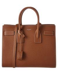 Saint Laurent | Brown Classic Small Sac De Jour Leather Tote | Lyst
