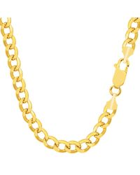 JewelryAffairs - 10k Yellow Gold Curb Hollow Chain Necklace, 6.1mm - Lyst