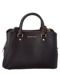 MICHAEL Michael Kors | Black Savannah Medium Leather Satchel | Lyst