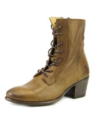 Frye | Courtney Lace Up Women Round Toe Leather Brown Boot | Lyst