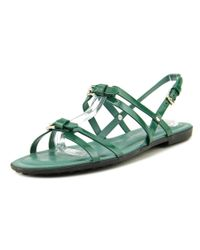 Tod's | Sand G Women Open Toe Leather Green Sandals | Lyst
