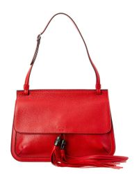 Gucci | Red Bamboo Daily Leather Top Handle Tote | Lyst