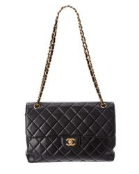 Chanel - Black Quilted Lambskin Jumbo 2x Flap Bag - Lyst